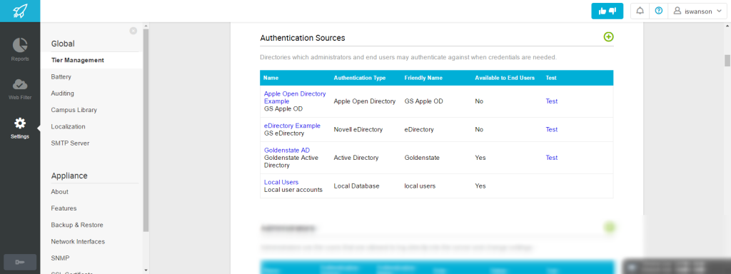 Authentication Sources