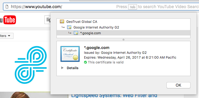For youtube.com the report would show the url as google.com, as seen in their ssl certificate
