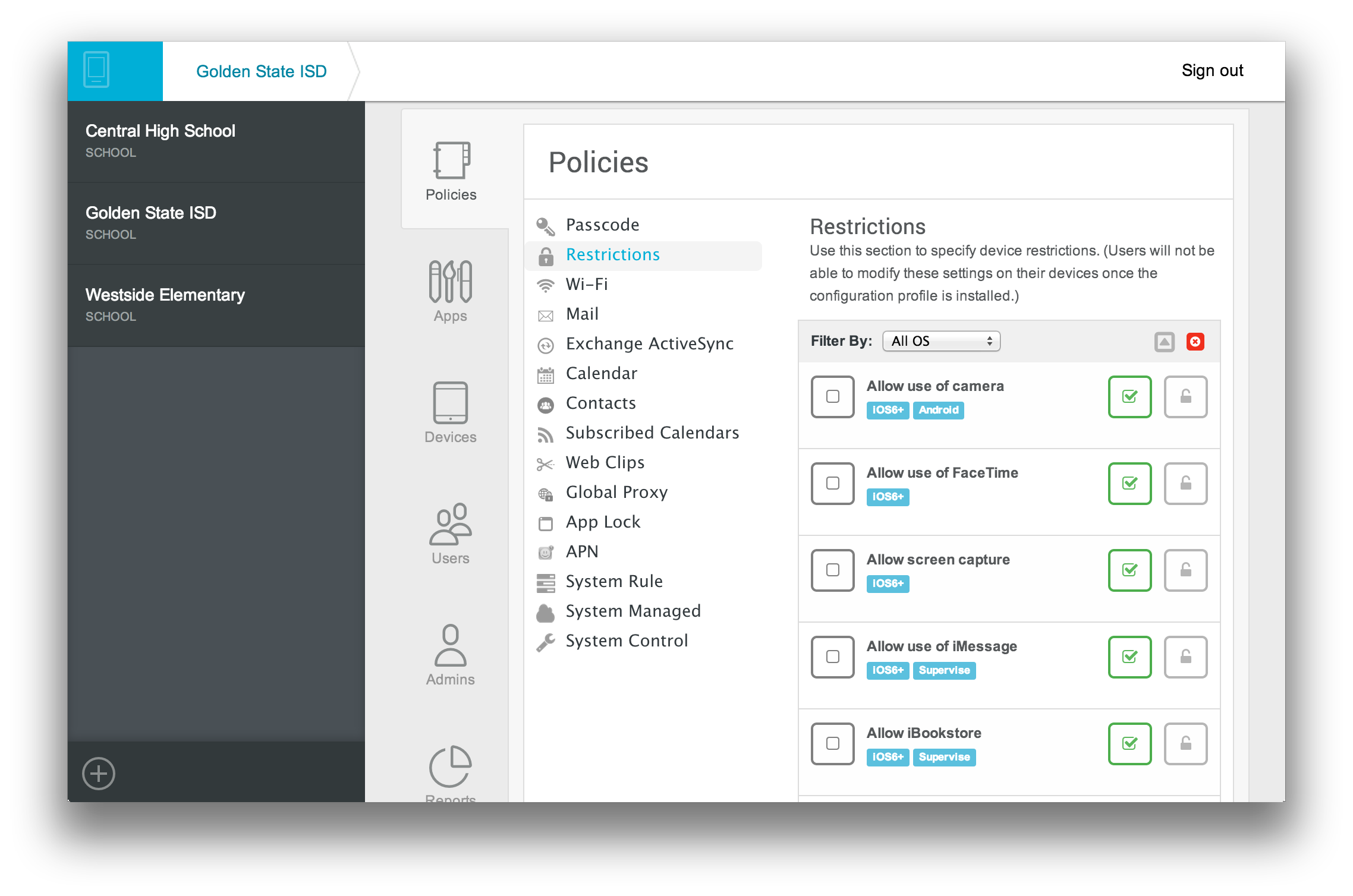 MobileManager-Policies