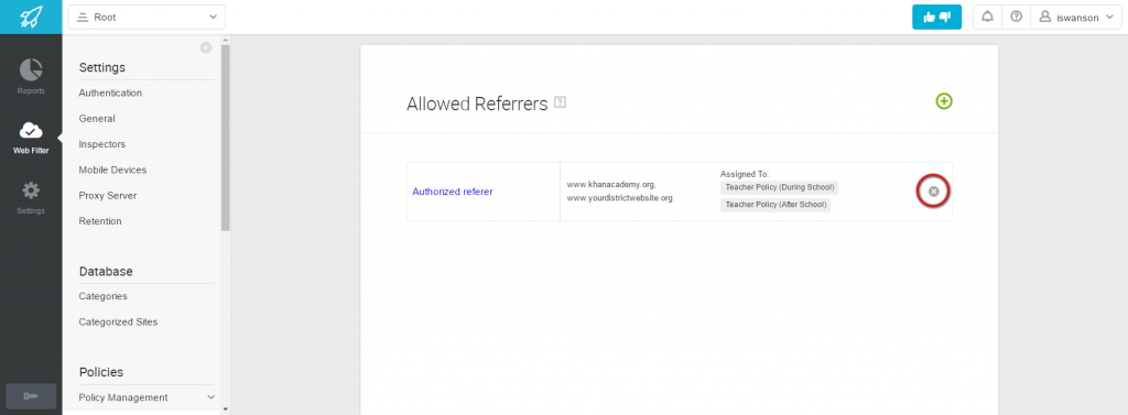 Deleting Allowed Referrer List