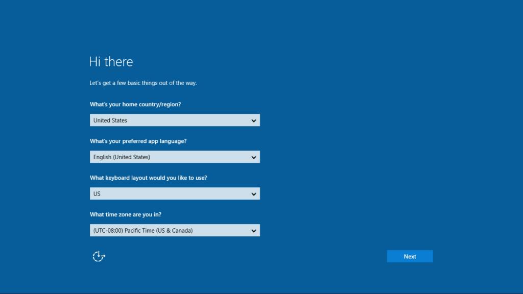 Windows10-OOBE Screenshot 1