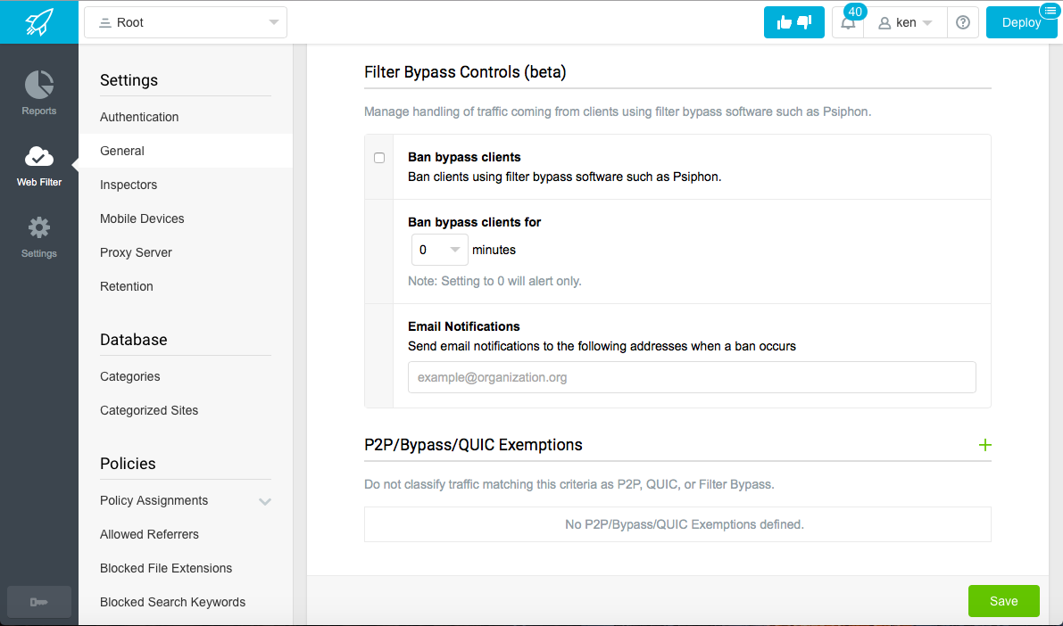 Screenshot of Filter Bypass Controls in the Lightspeed Systems Web Filter