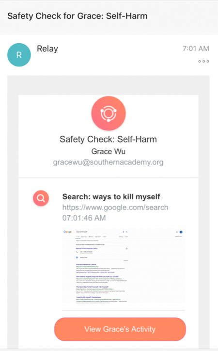 Safety Check Suicide Alert
